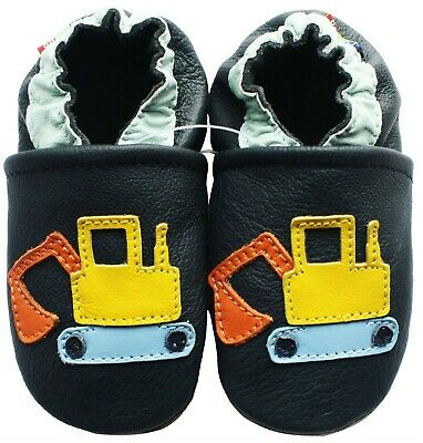 carozoo excavator dark blue outdoor rubber sole leather shoes up to 4 years old
