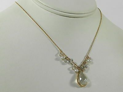 14K Gold Over Sterling Silver Faceted Crystal Pendant Necklace