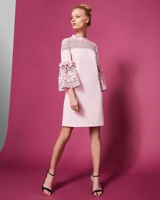 d830b7a9e53ea NEW Ted Baker LUCILA Lace bell sleeved tunic dress in pink - Size 3 US 6