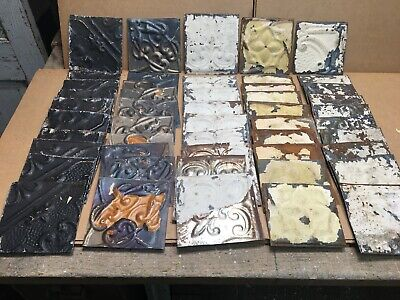 "50pc Craft Lot of 5.5"" by 5.5"" Antique Ceiling Tin Vintage Reclaimed Salvage Art"