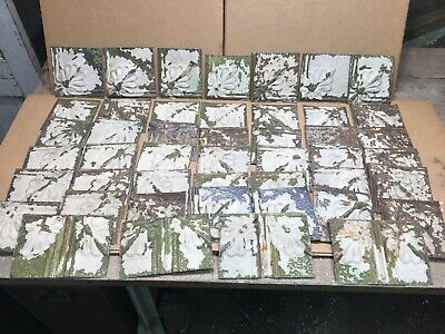 """45pc Craft Lot of 5"""" by 5"""" Antique Ceiling Tin Vintage Reclaimed Salvage Art"""
