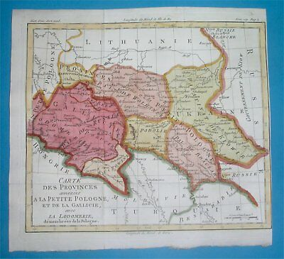 1787 Rare Nice Antique Map Poland Ukraine Podolia Wolhynia Galicia Lviv Kiev