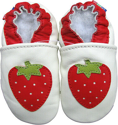 carozoo strawberry white outdoor rubber sole leather shoes up to 4 years old
