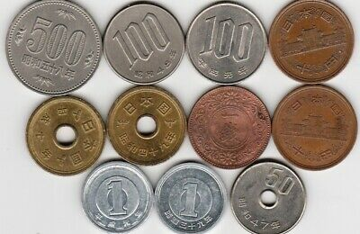 11 different world coins from JAPAN