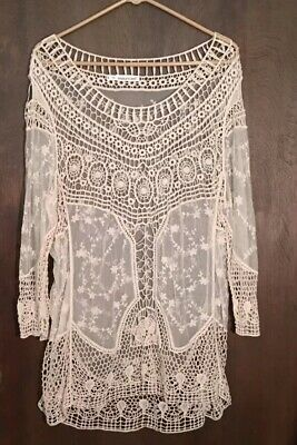 0d1b90d0430 Maurices Ivory LS Open Weave Crochet Embroidered Sheer Top Plus Size 3 (1X   )