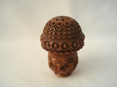 Antique Carved Wood Thimble or Spool Thread Holder Pierced Top Sewing Item