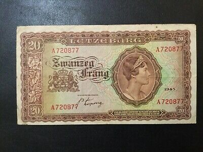 1943 Luxembourg Paper Money - 20 Frang Banknote!