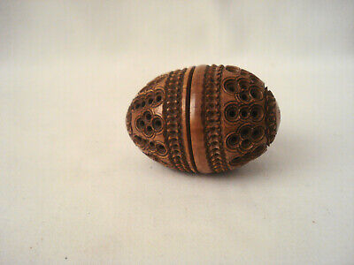 Antique Wood Carved Egg Shaped Thimble Holder Case Box Coquilla Nut