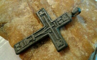 "RARE 17-18th CENT. ORTHODOX RUSSIAN NORTH ""OLD BELIEVERS"" CROSS THE ""CREED"" TEXT"