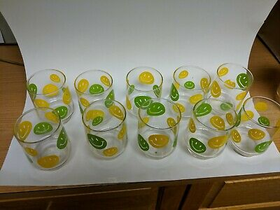 10 Smiley Happy Face Yellow Green Drink Glasses Tumblers 1970's Libbey Glass