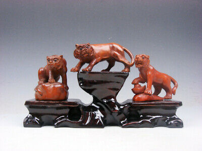3 Japanese Boxwood Hand Carved Tiger Netsuke w/ Wooden Stand #02211903