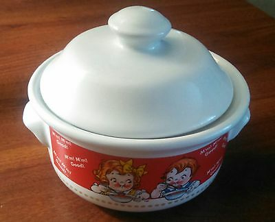 1998 Campbell Ceramic Soup Bowl with lid Red & White with Campbell's Soup Kids