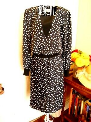 VINTAGE 1980's BLACK & WHITE SPOTTY DRESS BY DISCOVERY