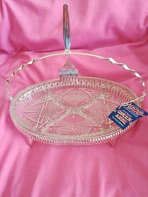 QUEEN ANNE, Silver Plated & Glass, Serving Dish 29cm. Made in England.