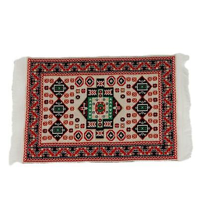 1/12Doll House Miniature Red Pattern Woven Floor Rug Carpet Coverings 17cm*10cm