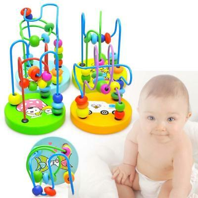 Children Kids Baby Colorful Wooden Mini Around Beads Educational Game Toy HOT UP