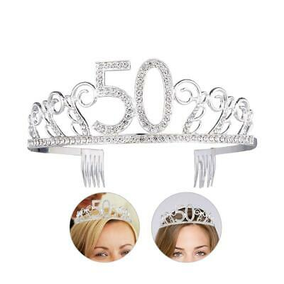 Birthday Crown Adult 50th Crystal Rhinestone Tiara Jewelry Accessories Headband