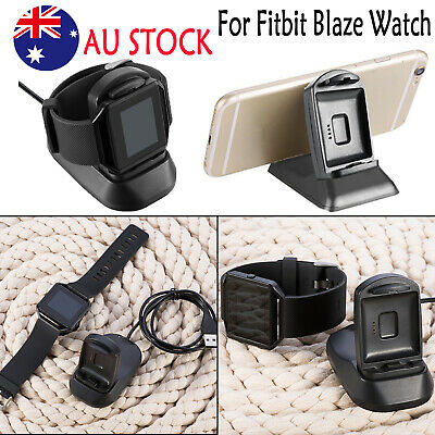2in1USB Fast Charger Dock Charging Stand Holder for Fitbit Blaze Watch iPhone AU