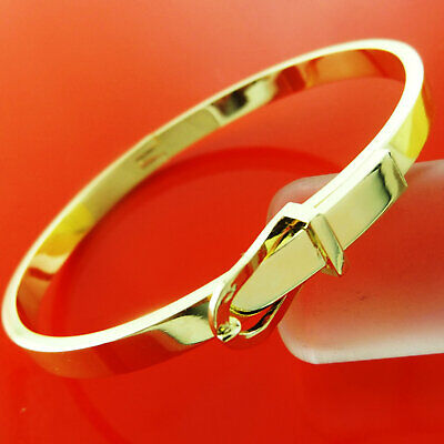 Bangle Bracelet 18k Yellow G/F Solid Gold Ladies Hinged Belt Buckle Cuff Design