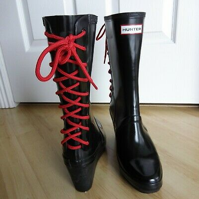 6b585d39f293 Hunter Verbier Lace Up Wedge High Heel Rain Boots 10 Euro 42 Black W  Red