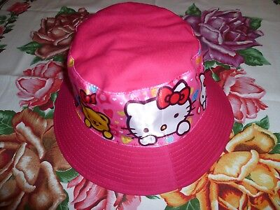 Girl's Hello Kitty Bucket Hat Size 52 CM Hot Pink Colour New.