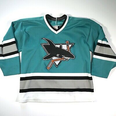 51473b5d8 Vintage 90s CCM Maska NHL Hockey Jersey San Jose Sharks Youth L XL Teal  Patches