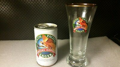 South Pacific Special Export Lager Beer Glass And Can