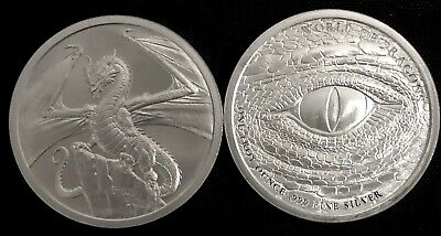 Lot Of 2 - The Welsh 1 Oz Silver Round - 2Nd Release World Of Dragons Series