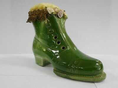 Vintage Porcelain Green Boot / Shoe Pin Cushion