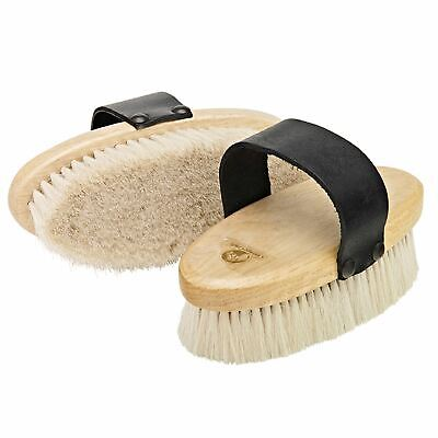 Cottage Craft Equestiran Goat Hair Body Brush Wooden Back & Leather Hand Strap