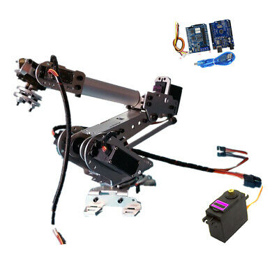 6 Axis Aluminium Robotic Mechanical Arm Gripper Kit with 6xServo for Arduino