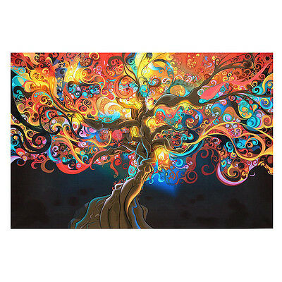 "20"" x 13"" Psychedelic Trippy TREE Abstract Art Silk Cloth Poster^ Home WAR Decor"