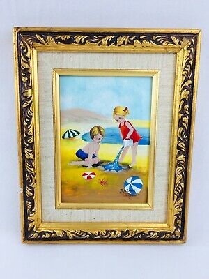 Signed Enamel on Copper Painting Children Playing at the Beach B. Pitney Framed