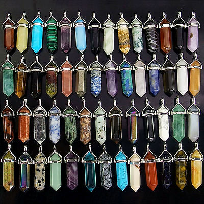 Quartz Crystal Healing Point Chakra Cut Gemstone Pendant Reiki Natural Necklace#