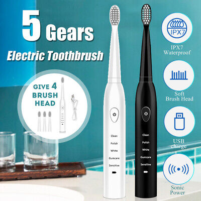 5 Modes Electric Mute Toothbrush Sonic Power IPX7 Waterproof USB Charge +4 Head