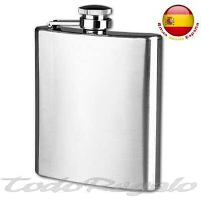Petaca acero inoxidable stainless steel 7oz 11x9cm tapon rosca hermetico 200 ml