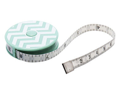 Mint Chevron Patterned Retractable Tape Measure / Metric & Imperial / 150cm-60""