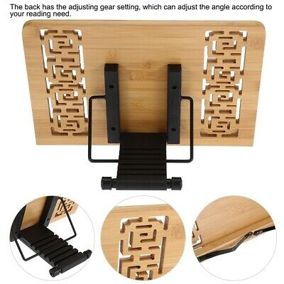 Hands Free Adjustable Bamboo Tablet Book Reading iPad Holder Stand Bracket Rack