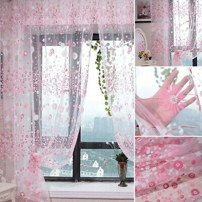 New Chiffon Gauze Voile Wall Room Divider Floral Printed Window Curtain