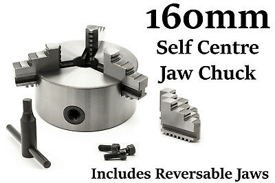 """3 Jaw Self Centering Lathe Chuck 160mm 6-1/4""""  Reversable Jaws Recessed Mount"""