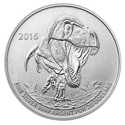 New 2016 $20 Fine Silver Coin Tyrannosaurus Rex from the Royal Canadian Mint