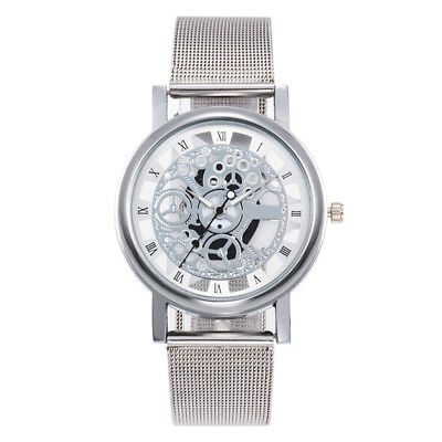 Hot Skeleton Analog Men's Luxury Stainless Steel Mesh Band Quartz Wrist Watch D