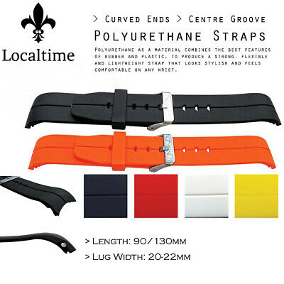 Centre Groove Curved Ends Fitting Polyurethane Watch Strap In 5 Colours 20-22mm