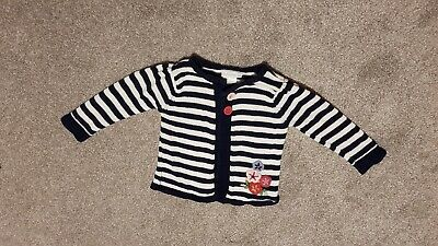Jojo Maman Bebe girls navy & white stripe cardigan with flower detail 12-18mths