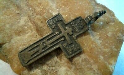 "ANTIQUE 18-19th CENTURY LARGE ""OLD BELIEVERS"" ORTHODOX CROSS PSALM 68 ""EXORCISM"""
