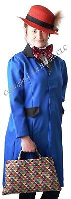 World Book Day COMPLETE Mary Poppins Nanny LONG BLUE COAT Costume  - See options