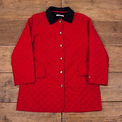 Womens Vintage Tommy Hilfiger Quilted Jacket Coat Red Size 12 R4992