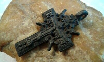 "ANTIQUE 18-19th CENTURY ORTHODOX ""OLD BELIEVERS"" ORNATE ""SUN"" CROSS w/ PSALM 68"