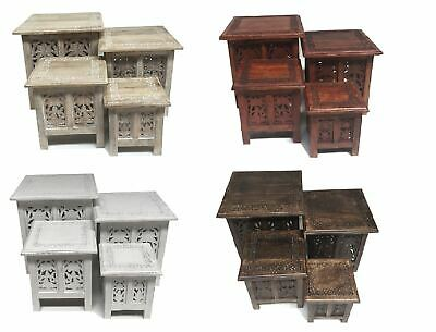 Antique Effect Beautiful Indian Carved Woden Square Lamp Side End Coffee Table