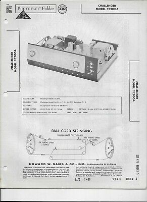 1960 PHOTOFACT Challenger FM AM Tuner Receiver Radio TC200A Manual #1185